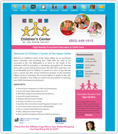 New child care website design for preschool in lebanon nh for Childcare newsletter templates