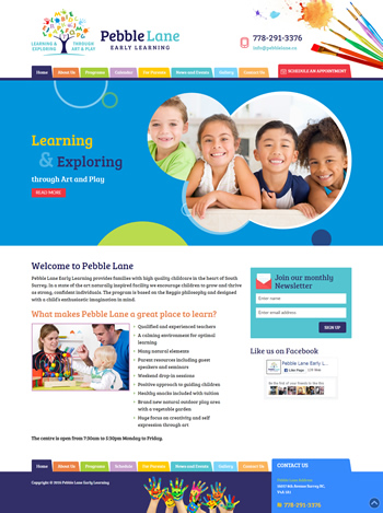 Featured Client Site:  Pebble Lane Early Learning