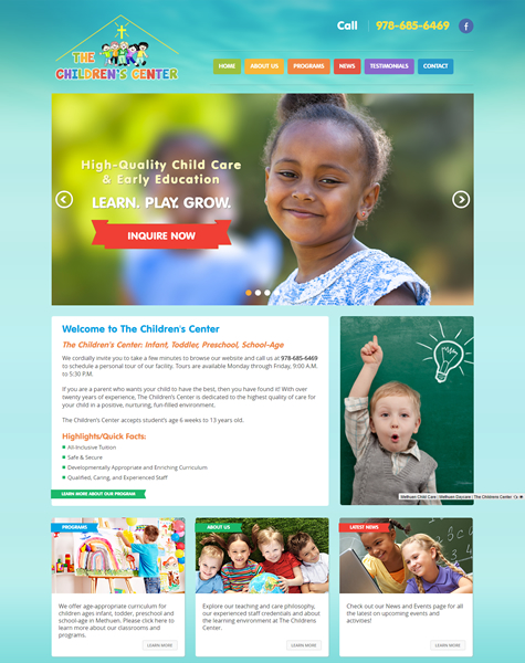Child Care Website Template Design