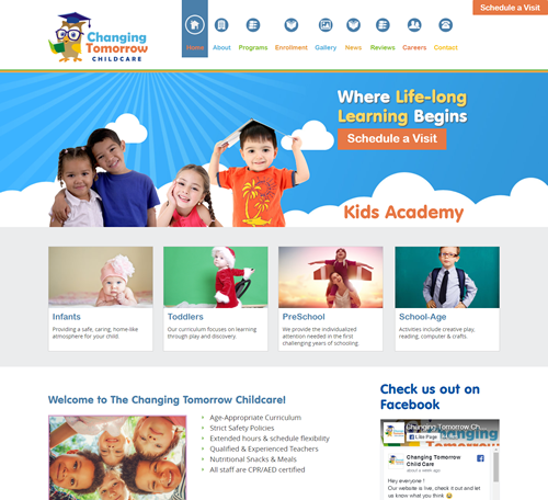 New Project Profile:  A Custom Child Care Logo & Website Template